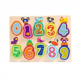 Ξύλινο Παζλ Αριθμοί και Ζωάκια - Top Bright (120325)