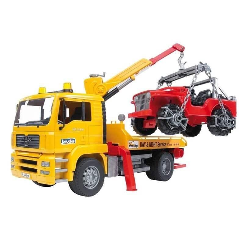 Bruder - Φορτηγο MAN οδικής βοήθειας με γερανό και τζιπάκι