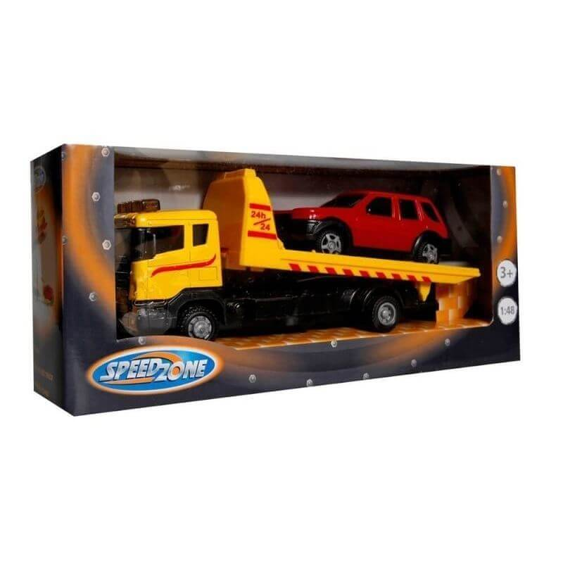 Φορτηγό Οδικής Βοήθειας με Αυτοκίνητο Κίτρινο
