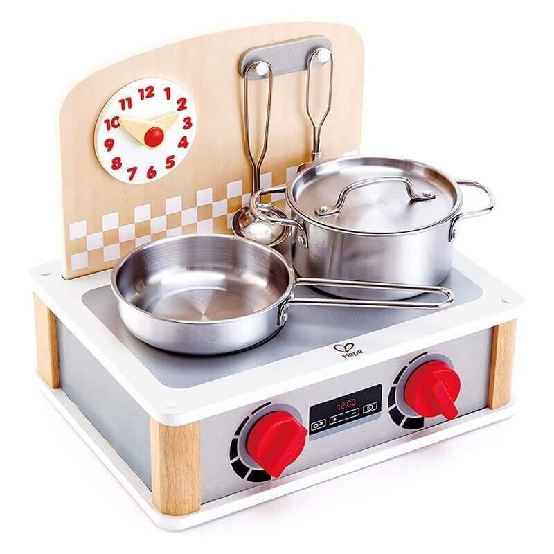 Ξύλινη Κουζίνα-Γκριλ 2σε1 Hape με Μεταλλικά Σκέυη Ε3151