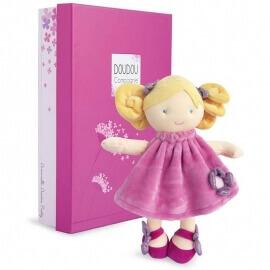 Πάνινη Κούκλα Ροζ με Λουλούδι 28εκ. σε Κουτί Δώρου