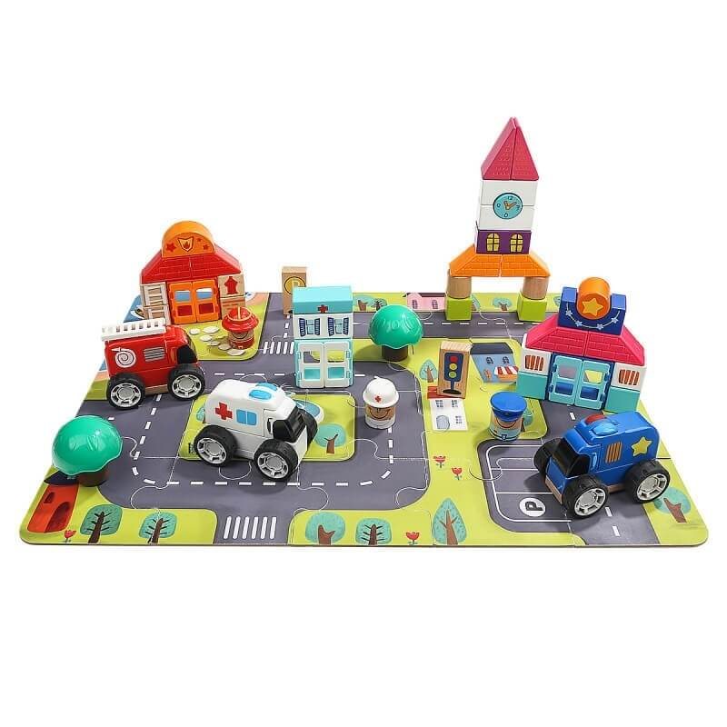 """Ξύλινα Τουβλάκια και Οχήματα """"Η Πόλη"""" - Top Bright (120408)"""