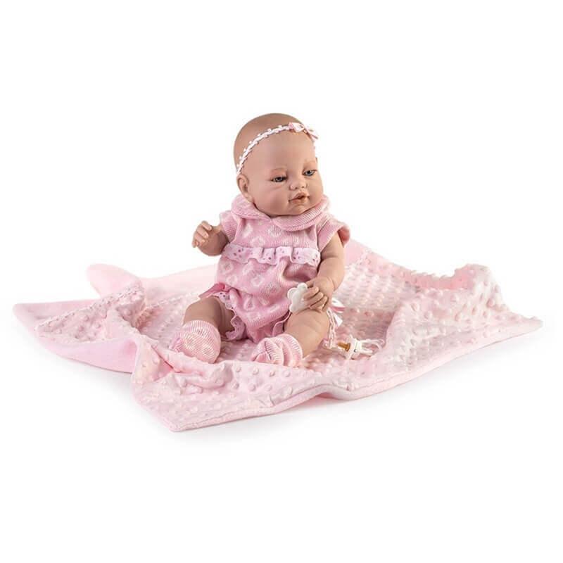 Μωρό με Κουβερτάκι Recien Nacidos Βινυλίου Ροζ 42εκ.