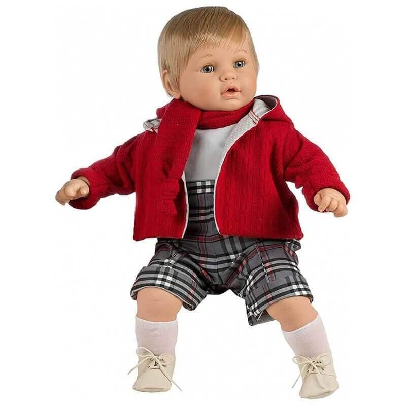 Κούκλα Αγόρι με Ήχους, Πιπίλα και Κλεισιμο Ματιών Baby Dulzon 62εκ. (8037)