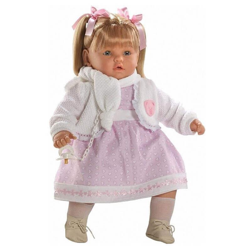 Κούκλα με Ήχους, Πιπίλα και Κλείσιμο Ματιών Baby Dulzon 62εκ. (8034)