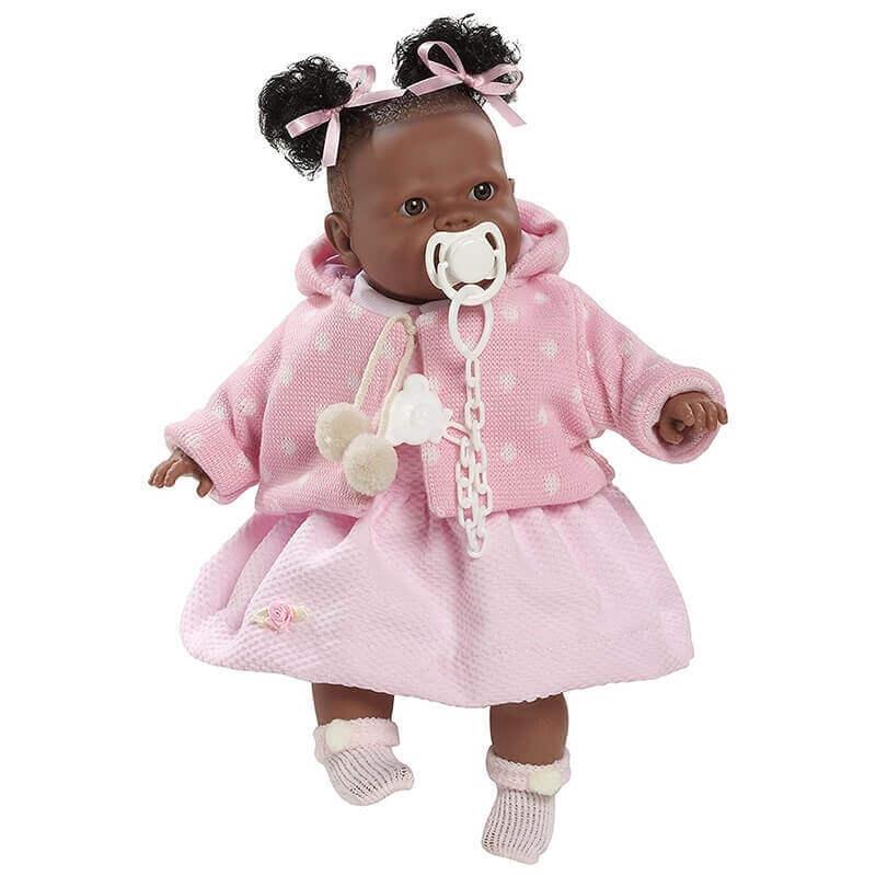Κούκλα με Ήχους και Πιπίλα Alicia 38εκ. με Ροζ Ρούχα