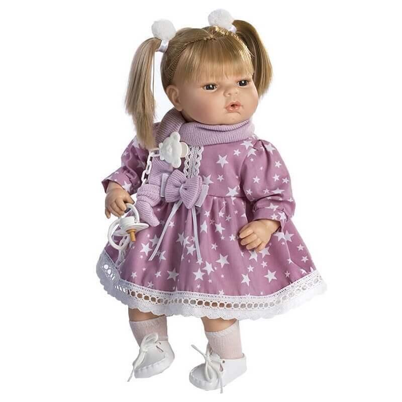 Κούκλα με Ήχους και Πιπίλα Maria 42εκ. με Λιλά Φόρεμα