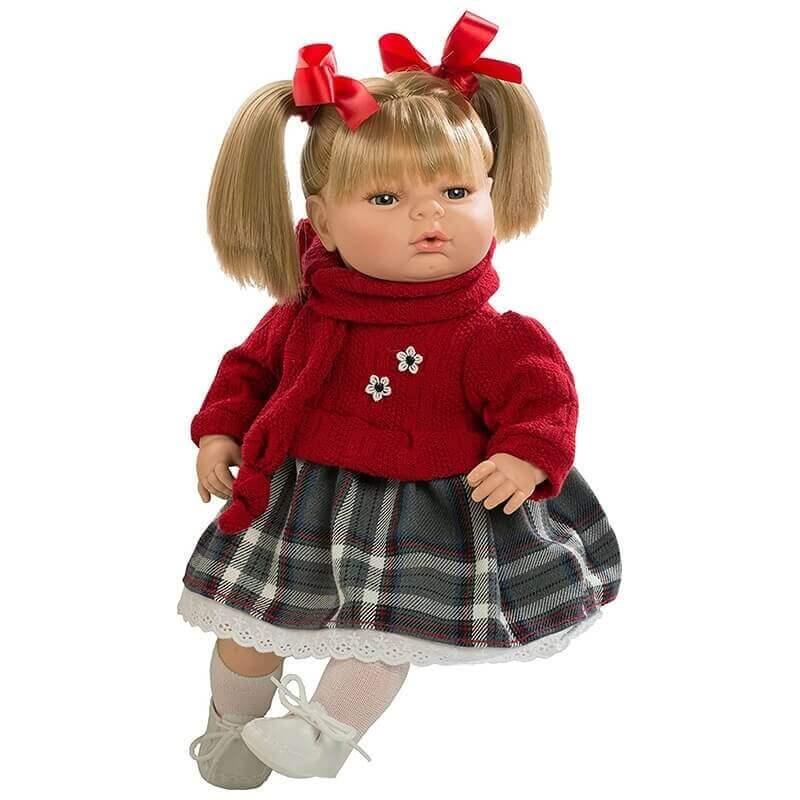 Κούκλα με Ήχους και Πιπίλα Maria 42εκ. με Κόκκινο Πουλόβερ