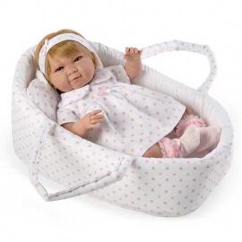 Μωρό με Ήχους 43εκ. σε Πορτ Μπεμπέ Λευκό Πουά