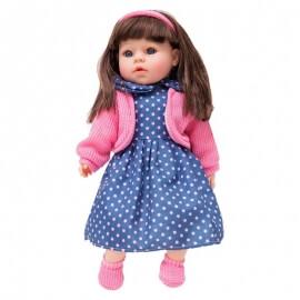 """""""Η Κουκλίτσα μου"""" 42 εκ. μιλάει Ελληνικά G21 - Μπλε Ροζ Πουα Φόρεμα"""