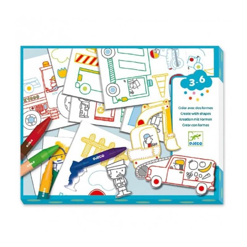 Djeco Ζωγραφίζω με Κηρομπογιές και Κολάζ Οχήματα (08995)