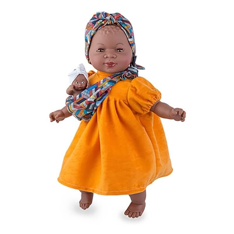 """Κούκλα """"Maria"""" με Μωράκι και Πορτοκαλί Φόρεμα 45cm"""
