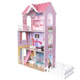 Ξύλινο Κουκλόσπιτο Deluxe με Έπιπλα Ροζ Phoohi SAWT18226
