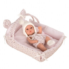 Μωρό Βινυλίου Natal 33cm με Κρεβατάκι-Κούνια