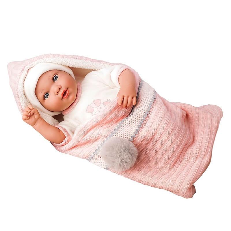 Μωρό Iria με Κουβερτάκι, Πιπίλα και Ήχους ρόζ 42cm