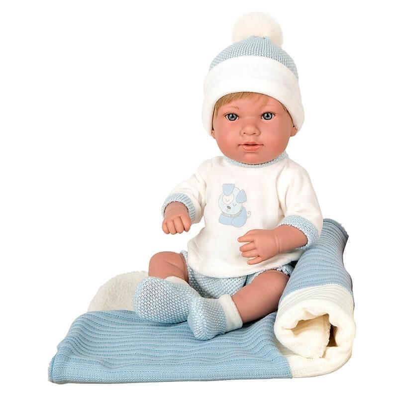 Μωρό Βινυλίου Salma με Κουβερτάκι γαλάζιο 42cm