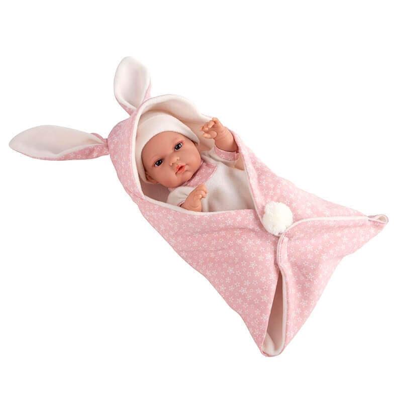 Μωρό Βινυλίου Natal με Υπνόσακο Κουβερτάκι ροζ 33cm