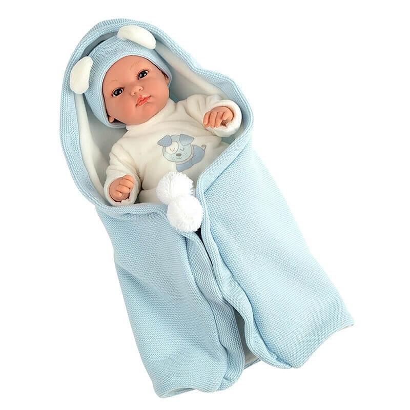 Μωρό Erea με Υπνόσακο Κουβερτάκι πιπίλα και ήχους θαλασσί 33cm