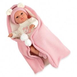 Μωρό Erea με Υπνόσακο Κουβερτάκι πιπίλα και ήχους ρόζ 33cm