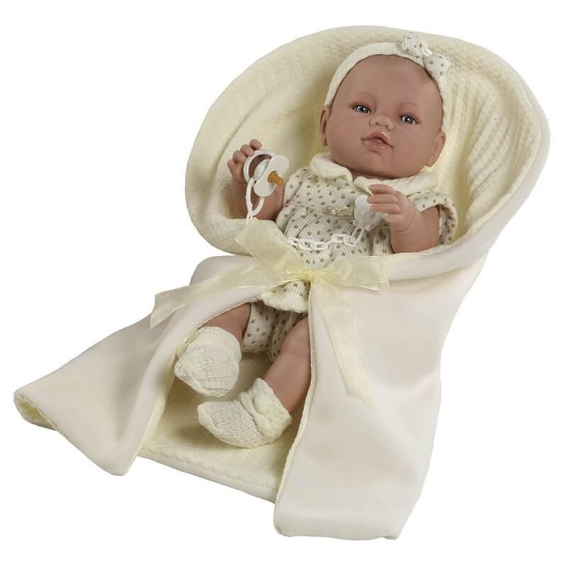 Μωρό με Κουβερτάκι Recien Nacidos Βινυλίου Μπεζ 42εκ.