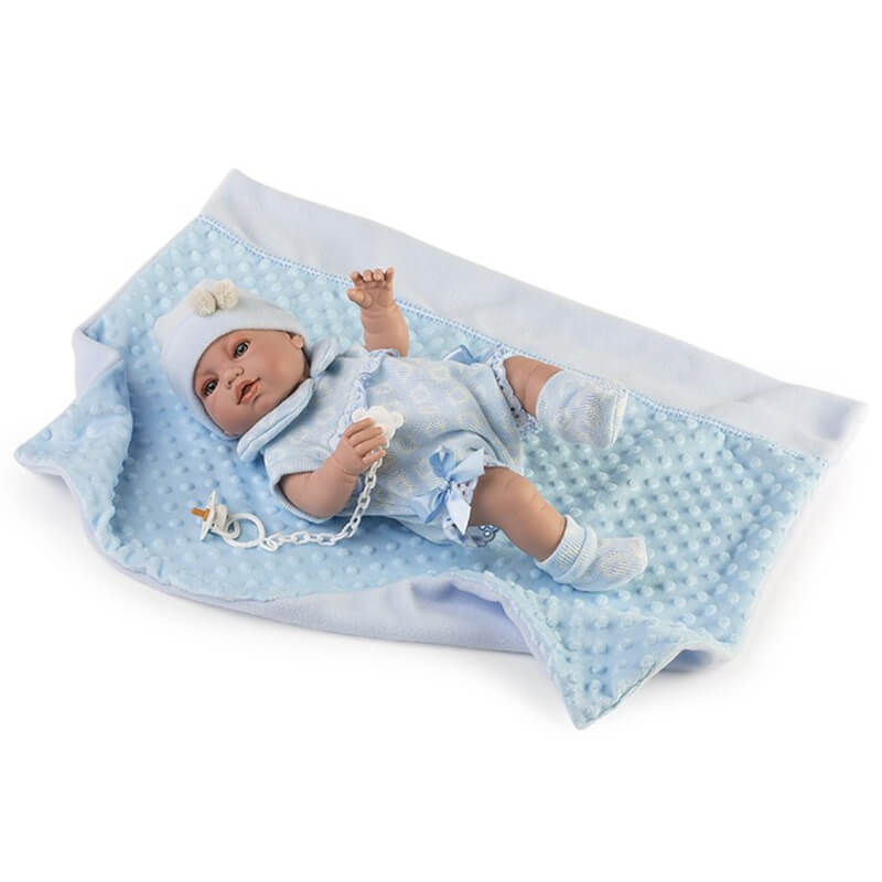 Μωρό με Κουβερτάκι Recien Nacidos Βινυλίου Γαλάζιο 42εκ.
