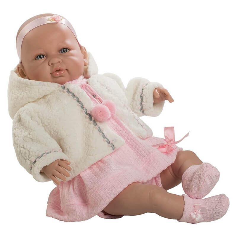 Μωρό Sara με Ήχους, Ροζ Φόρεμα 50εκ.