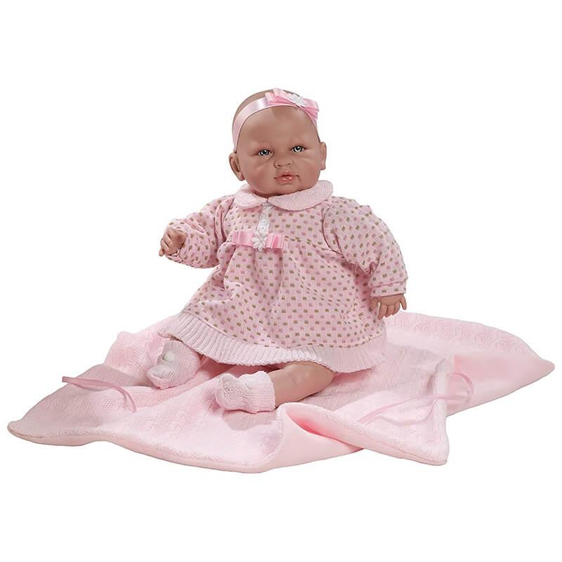 Μωρό Sara με Ήχους, Ροζ Φόρεμα & Κουβερτάκι 50εκ.