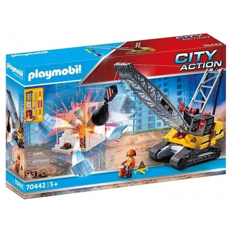Playmobil City Action Γερανός Κατεδάφισης Με Ερπύστριες Και Δομικά Στοιχεία (70442)