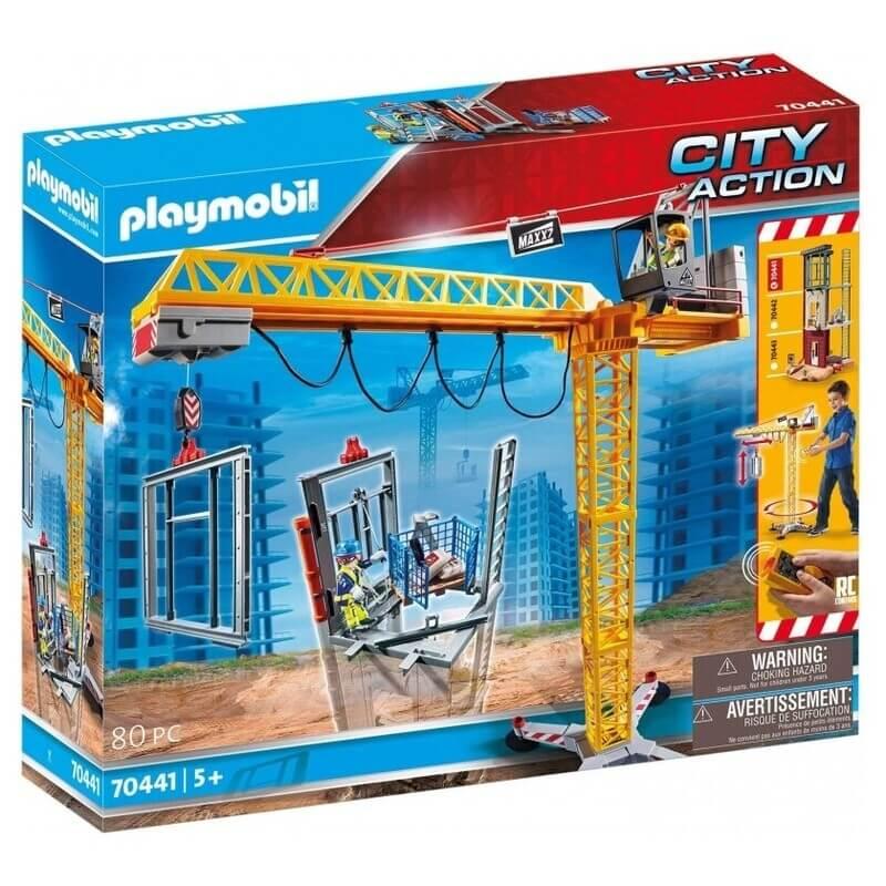 Playmobil City Action Ανυψωτικός Γερανός Βαρέως Τύπου Με Τηλεχειριστήριο Και Σκαλωσιές (70441)