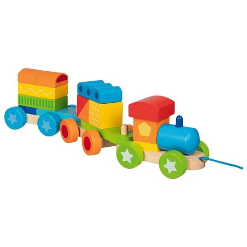Ξύλινο Τρένο με 15 Τουβλάκια