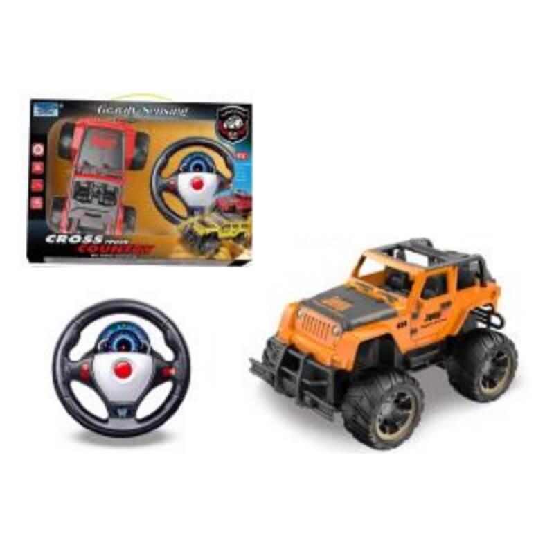 Τηλεκατευθυνόμενο Jeep Πορτοκαλί με Φορτιστή, Τιμόνι και Φώτα
