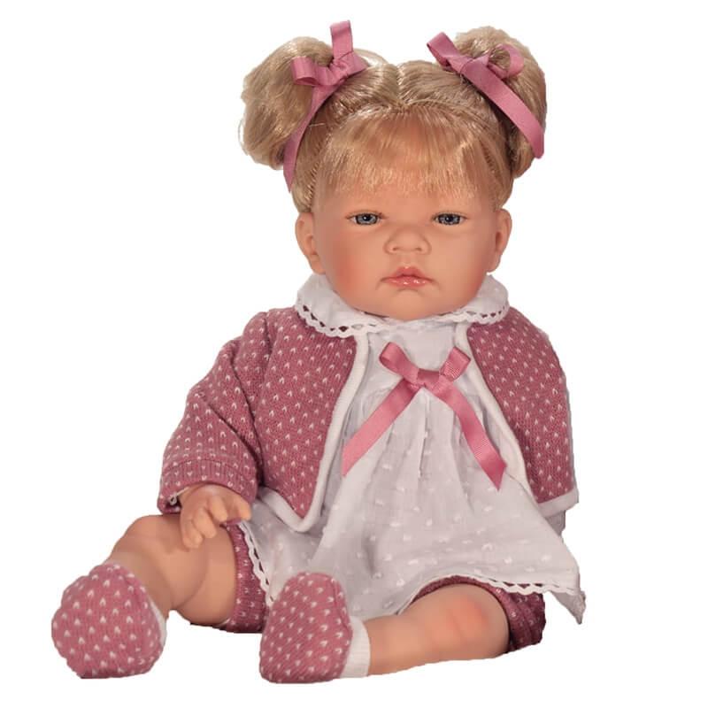 Κούκλα Celia Ροζ Ζακέτα Ξανθιά με ήχους 45 εκ
