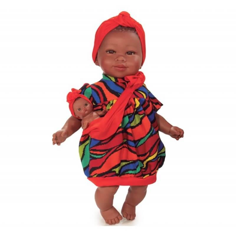 """Κούκλα """"Maria"""" με Μωράκι Κοραλί Φόρεμα 45cm"""