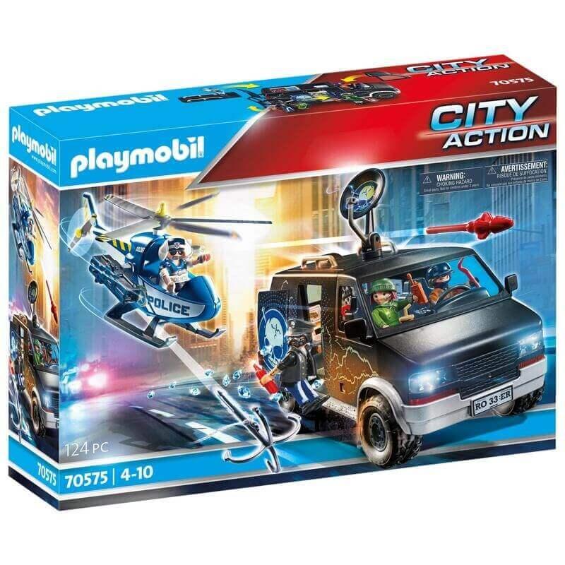 Playmobil Αστυνομία - Αστυνομικό ελικόπτερο και ληστές με βαν (70575)