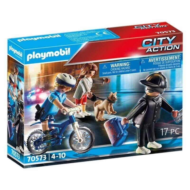 Playmobil Αστυνομία - Αστυνομικός με ποδήλατο και πορτοφολάς (70573)