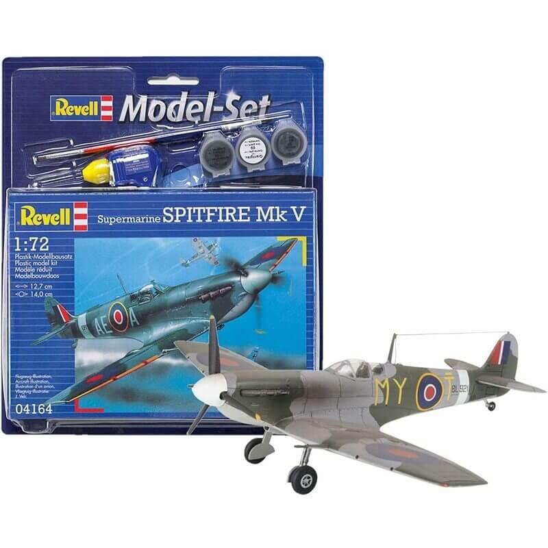 Πολεμικό Αεροπλάνο Spitfire Mk V σετ δώρου με χρώματα & κόλλα 1/144