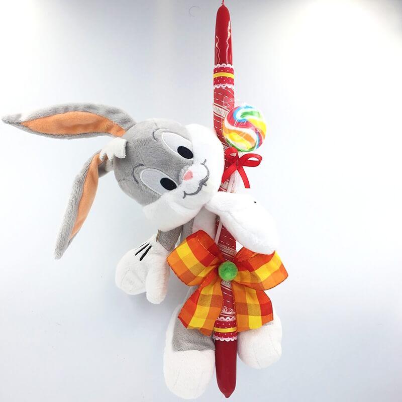 Χειροποίητη Πασχαλινή Λαμπάδα Μπαγκς Μπάνι (Bugs Bunny) (21.37)