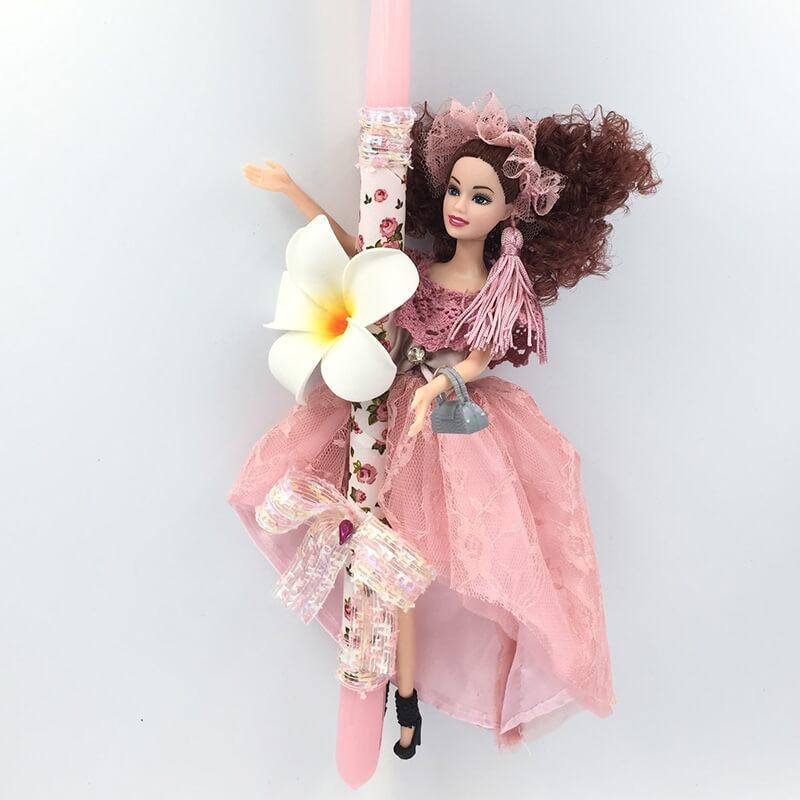 """Χειροποίητη Πασχαλινή Λαμπάδα με Κούκλα """"Πριγκίπισσα των Λουολουδιών"""" Σομόν (21.19)"""