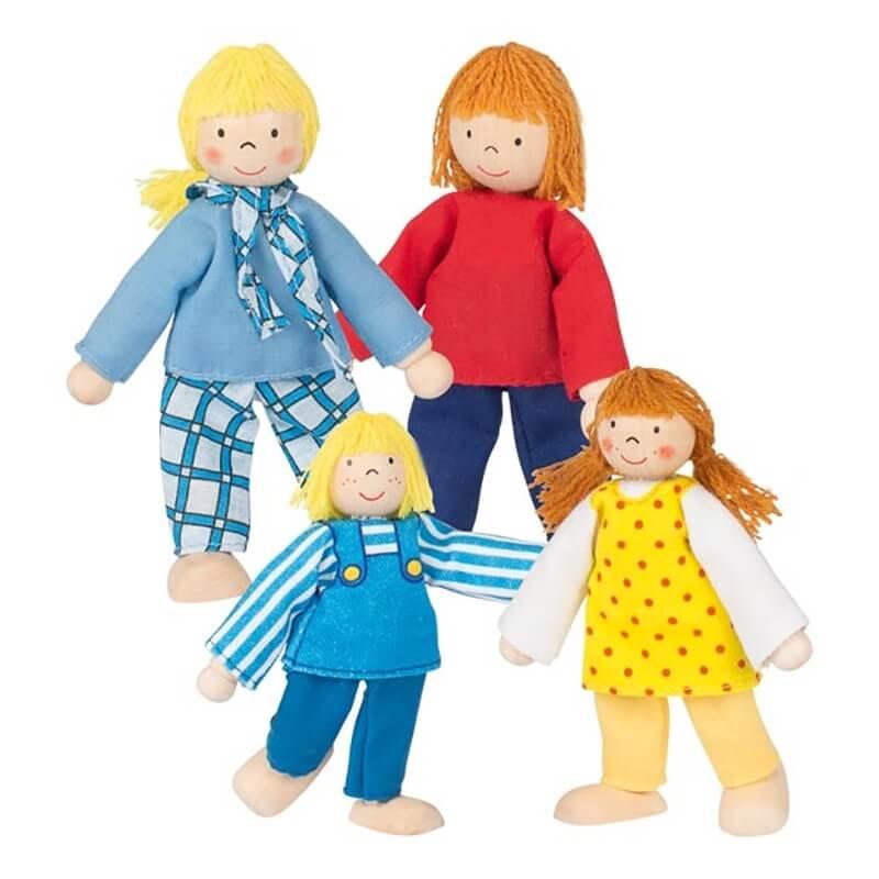 Ξύλινα Κουκλάκια για Κουκλόσπιτο - Οικογένεια Σετ 4 τεμ.