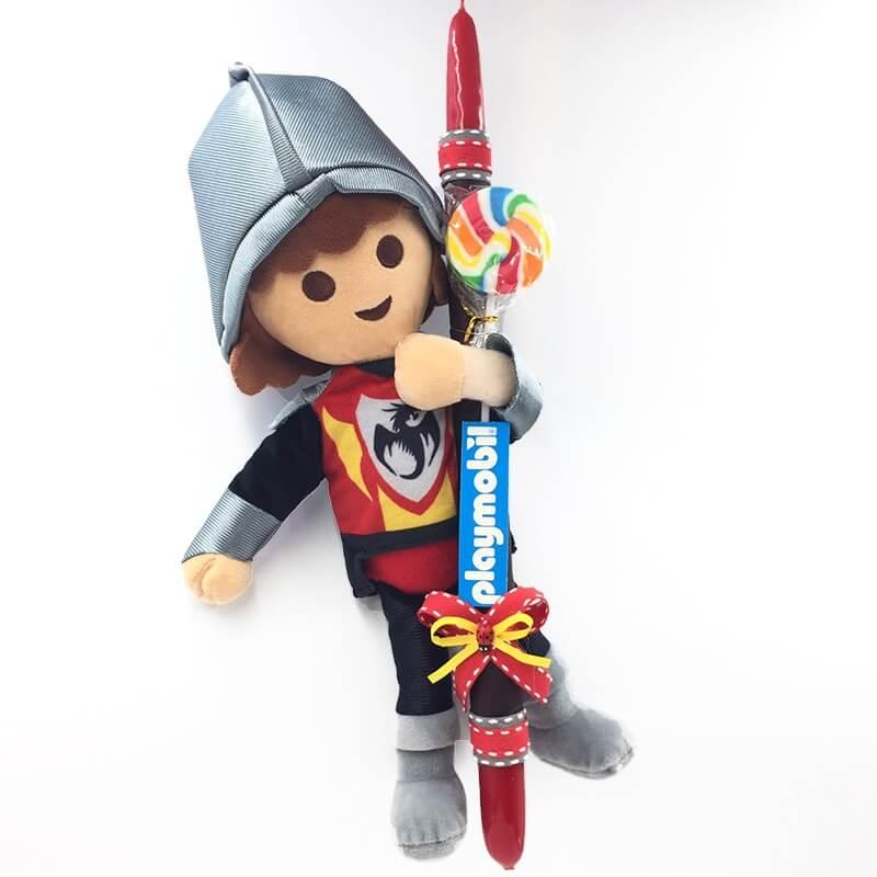 Χειροποίητη Πασχαλινή Λαμπάδα Playmobil Ιππότης 33εκ. (21.74)