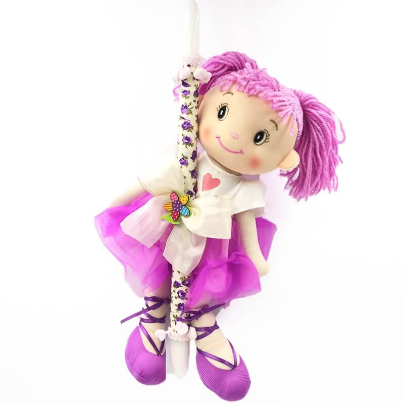 Χειροποίητη Πασχαλινή Λαμπάδα με Πάνινη Κούκλα Λιλά (21.13)