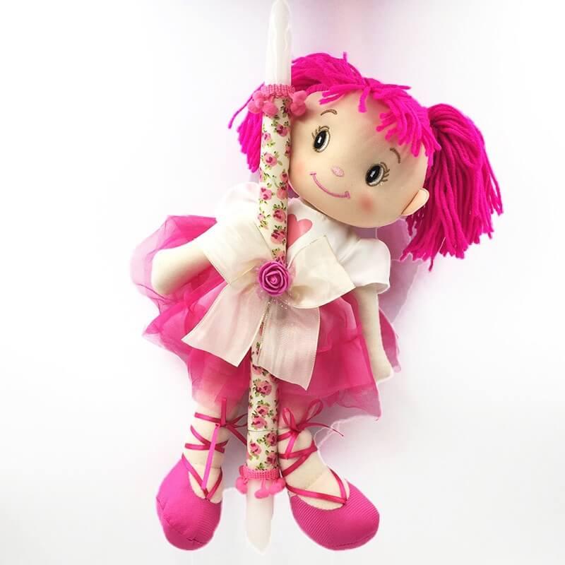 Χειροποίητη Πασχαλινή Λαμπάδα με Πάνινη Κούκλα Φούξια (21.12)