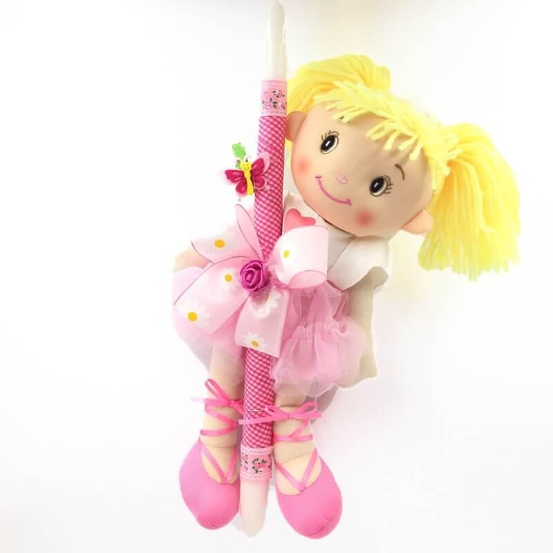 Χειροποίητη Πασχαλινή Λαμπάδα με Πάνινη Κούκλα Ροζ (21.11)