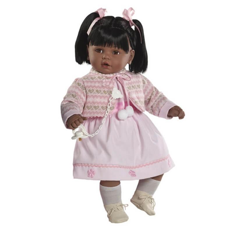 Κούκλα με Ήχους και Πιπίλα Baby Dulzon με Ροζ Φόρεμα 62εκ.