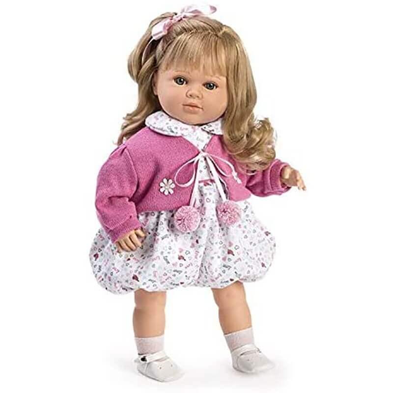 Κούκλα με Ήχους Carla με Άσπρο Φόρεμα και Φούξια Ζακέτα 52εκ.