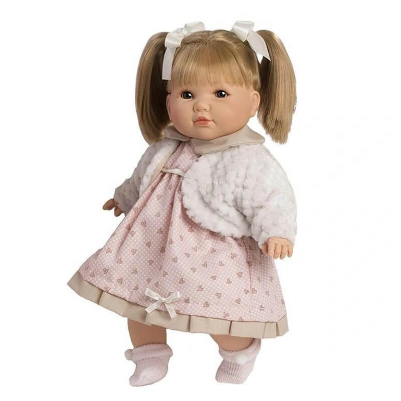 Κούκλα με Ήχους Sandra με Ροζ Φόρεμα και Ζακέτα 42εκ.