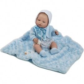 Μωρό Βινυλίου με Σκουφάκι και Κουβερτάκι Recien Nacidos Γαλάζιο 42εκ.