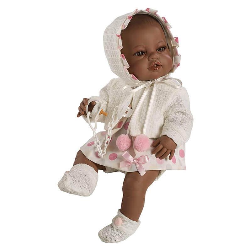 Μωρό Βινυλίου Έγχρωμο με Σκουφάκι Recien Nacidos Ροζ 42εκ.