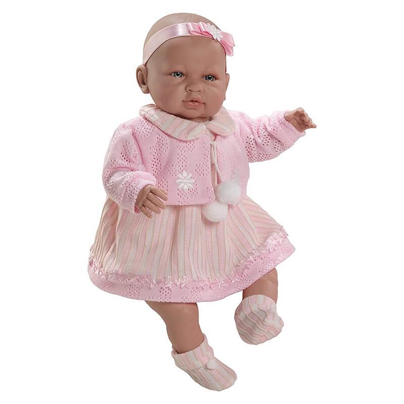 Μωρό Sara με Ήχους, Ροζ Ζακετάκι & Φόρεμα 50εκ.