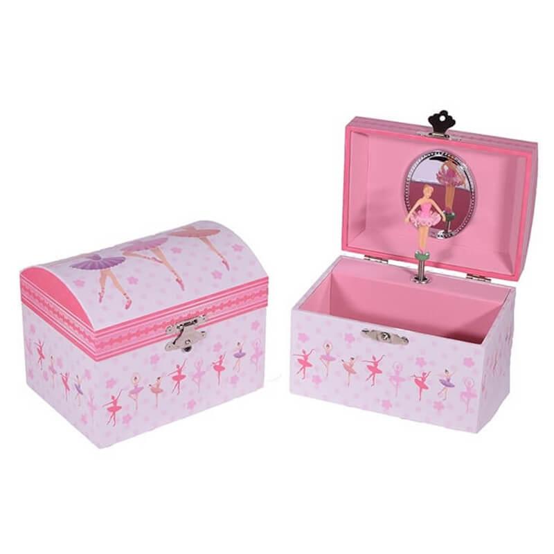 Μπιζουτιέρα - Μουσικό Κουτί Μπαλαρίνες Λευκό - Ροζ